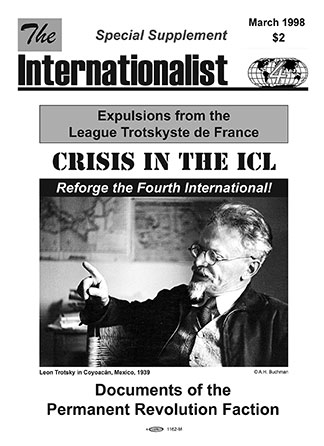 Cover of Crisis in the ICL pamphlet (1998)
