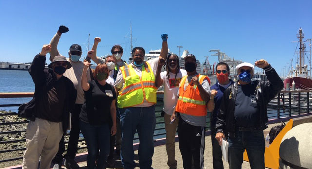 Press conference announcing ILWU West Coast port             shutdown for Juneteenth, Oakland, CA, 16 June 2020. (Photo:             Labor Video Project)