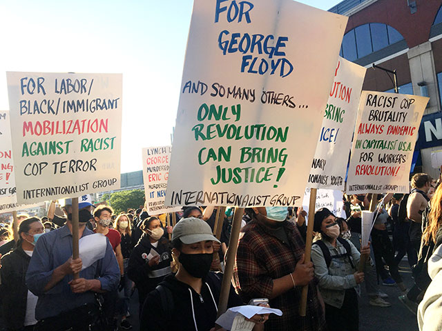 Internationalist contingent in 31 May 2020 NYC protest             against police murder of George Floyd. (Internationalist             photo)