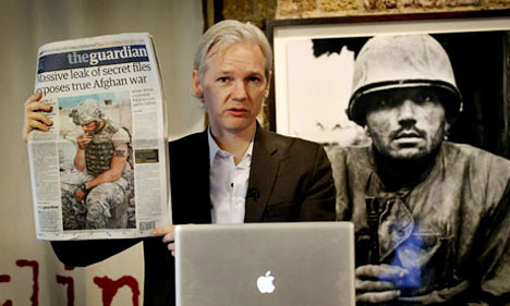 Julian Assange, presenting WikiLeaks' release of files on Afghanistan war in London, July 26.