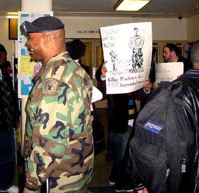 BCC protest against military recruiters, 17 March 2005