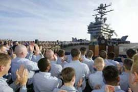 Bush speaking to sailors