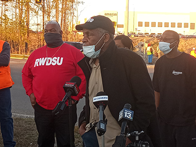 Danny Glover and Mike Foster at press conference in                 support of Amazon union drive