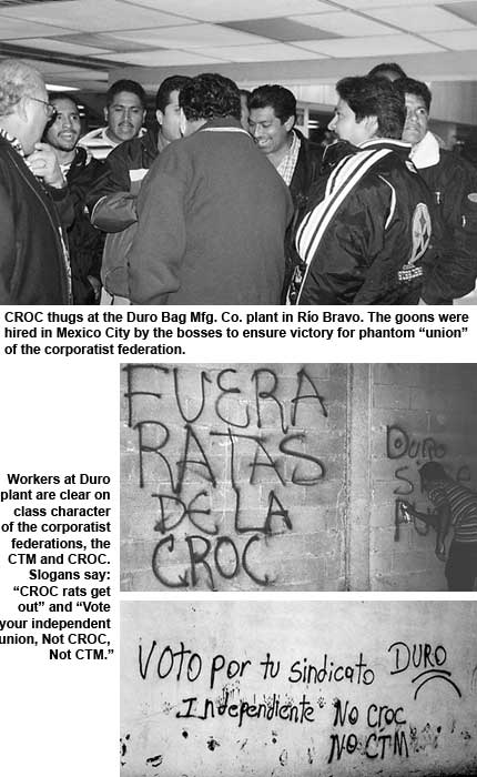 CROC thugs vs. women workers at DURO             maquiladora