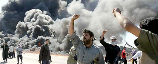 Falluja, rebels celebrate attack, 10 April 2004