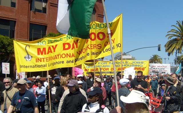 ILWU contingent in May Day labor march. Internationalist photo
