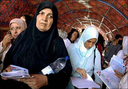 Iraqi women protest sharia, July 2005