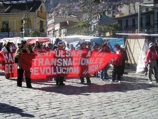 Demonstrators in La Paz call for 'revolution now.'