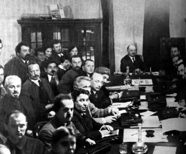 Lenin presiding over meeting of Council of People's