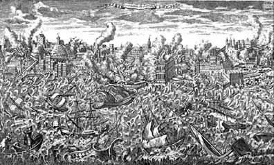 Engraving of 1755 Lisbon earthquake