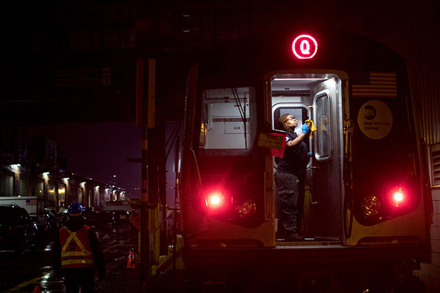 Disinfecting subway car, 3 March 2020. (Photo: New York