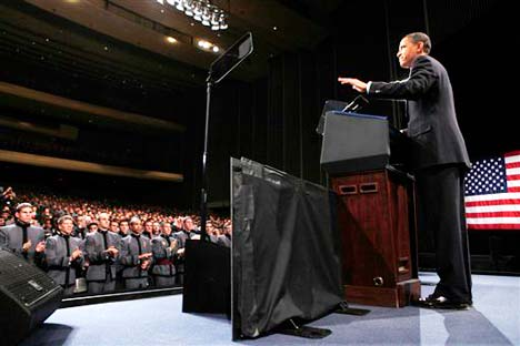 Imperialist commander in chief Barack Obama announces escalation of war on Afghanistan at West Point military academy, December 1. (Photo: Charles Dharapak/AP)
