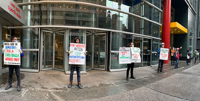 Protest outside NY governor Cuomo's Manhattan office             calling to free detainees from I.C.E. jails.             (Internationalist photo)