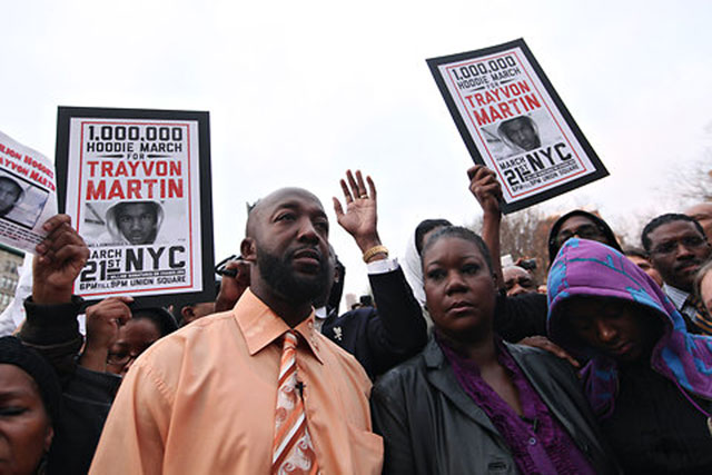 Trayvon Martin's parents, Tracey Martin and Sybrina Fulton at March 21 protest in NYC's Union Square.