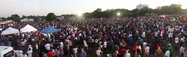 Panoramic view of March 22 rally of over 8,000 for Trayvon Martin in Ft. Mellon Park, Sanford, Florida.